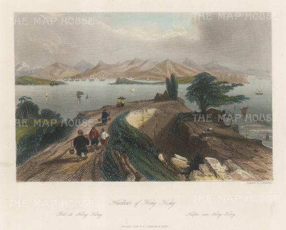 "Wright: Hong Kong Harbour. 1847. A hand coloured original antique steel engraving. 8"" x 6"". [SEASp1673]"