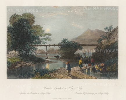 "Wright: Hong Kong Viaduct. 1847. A hand coloured original antique steel engraving. 8"" x 6"". [SEASp1674]"