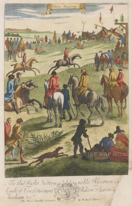 Horse Racing: Banned under Cromwell, racing became popular again with the return of Charles II. From Blome's important work on gentlemen's pursuits.