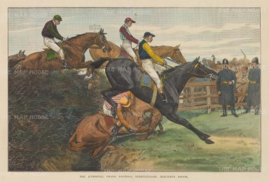 Grand National Aintree: View of a tumble at Beecher's Brook. The race was won by Arthur Nightingall on Ilex.