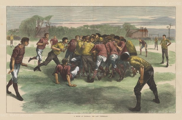 """Illustrated London News: Last Scrimmage, Rugby. 1871. A hand coloured original antique wood engraving. 20"""" x 14"""". [SPORTSp1649]"""