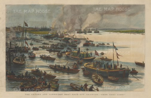 """Illustrated London News: Oxford Cambridge Boat Race, Chiswick. c1890. A hand coloured original antique wood engraving. 20"""" x 14"""". [SPORTSp1708]"""