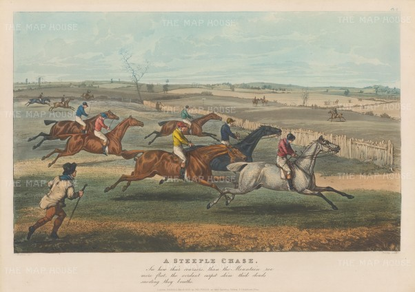Steeplechase: View of race with non competitors pursuing along the side, and an extract from the popular 1727 poem The Chase by William Somerville.