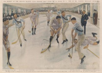 "ISDN: Ice Hockey. 1904. A hand coloured original antique photolithograph. 14"" x 10"". [SPORTSp2112]"