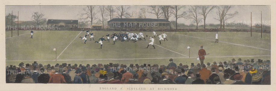 "ISDN: England v Scotland. 1895. A hand coloured original antique photolithograph. 18"" x 7"". [SPORTSp2136]"