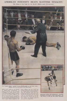 "Graphic Magazine: Boxing. 1927. A hand coloured original vintage wood engraving. 10"" x 13"". [SPORTSp2797]"