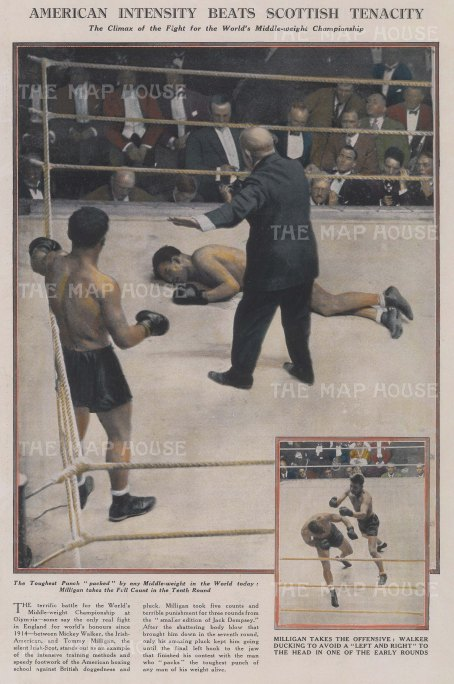 """Graphic Magazine: Boxing. 1927. A hand coloured original vintage wood engraving. 10"""" x 13"""". [SPORTSp2797]"""