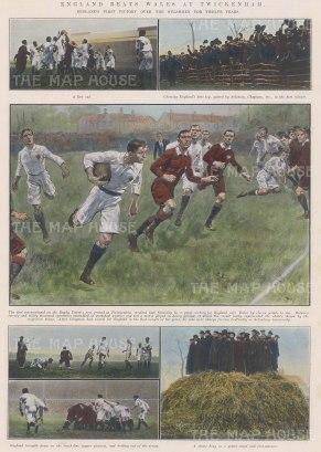 """ISDN: England v Wales, Twickenham. 1910. A hand coloured original antique photolithograph. 10"""" x 14"""". [SPORTSp2899]"""