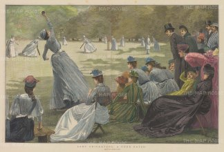 """Illustrated London News: Lady Cricketers. 1889. A hand coloured original antique wood engraving. 20"""" x 14"""". [SPORTSp2910]"""