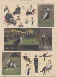 "ISDN: Billiard & Pyramid Tournamen. 1903. A hand coloured original antique wood engraving. 10"" x 14"". [SPORTSp2927]"