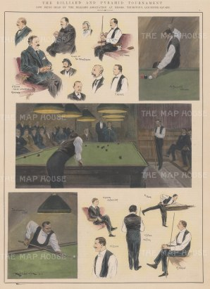 "ISDN: Billiard & Pyramid Tournamen. 1903. A hand coloured original antique wood engraving. 10"" x 14"". [SPORTSp2927]"