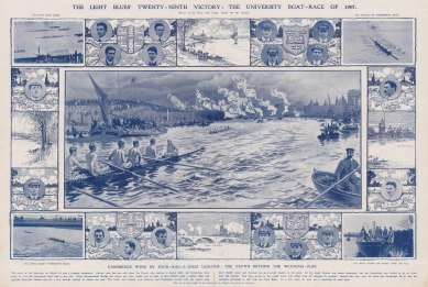 """Illustrated London News: Oxford Cambridge Boat Race. 1907. A hand coloured original tinted lithograph. 20"""" x 14"""". [SPORTSp3101]"""