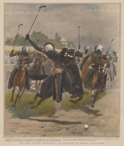 "Graphic Magazine: Manipur Polo Match.1903. A hand coloured original antique wood engraving. 10"" x 11"". [SPORTSp3210]"