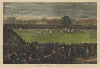 "Graphic Magazine: England v Australia, Oval. 1882. A hand coloured original antique wood engraving. 20"" x 14"". [SPORTSp3249]"
