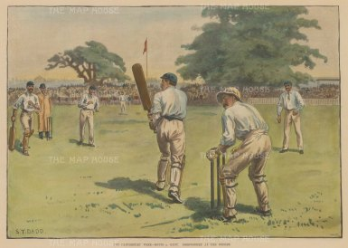 "ISDN: Notts v. Kent, Cricket. 1892. A hand coloured original antique photolithograph. 14"" x 10"". [SPORTSp3315]"