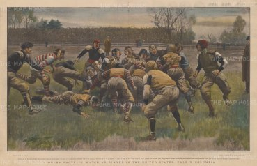 """Illustrated London News: Yale v. Columbia, Rugby Football. c1869. A hand coloured original antique wood engraving. 20"""" x 14"""". [SPORTSp3321]"""