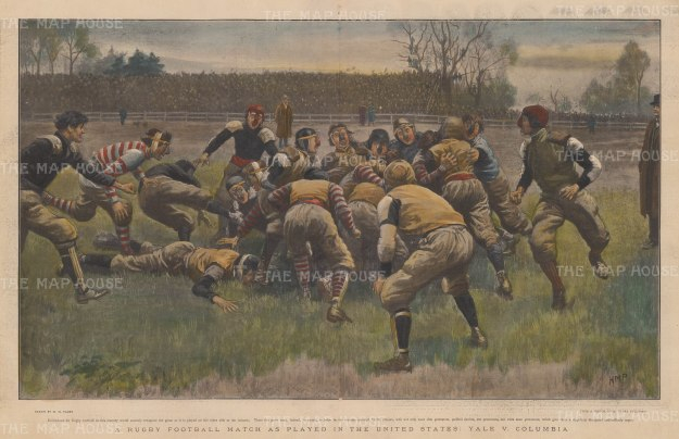 "Illustrated London News: Yale v. Columbia, Rugby Football. c1869. A hand coloured original antique wood engraving. 20"" x 14"". [SPORTSp3321]"