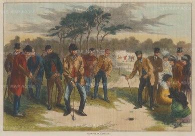 "Illustrated London News: Blackheath Golf Match. 1870. A hand coloured original antique wood engraving. 14"" x 10"". [SPORTSp3345]"