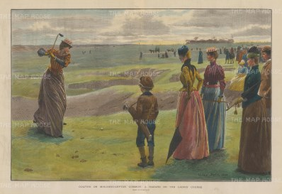 "Illustrated London News: Minchinhampton Common: Minchinhampton Common Ladies' Golf Course.1890. A hand coloured original antique wood engraving. 20"" x 14"". [SPORTSp3346]"