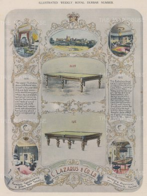 Billiard Tables: Illustrations of two billiard tables,1820 and 1912 by C. Lazarus & Co.