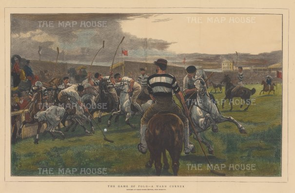 "Illustrated London News: Lillie Bridge Polo Grounds West Brompton. c1880. A hand coloured original antique wood engraving. 20"" x 14"". [SPORTSp3438]"