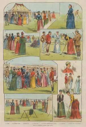 "Illustrated London News: St Andrew's Ladies' Golf Club. 1889. A hand coloured original antique wood engraving. 9"" x 14"". [SPORTSp3480]"
