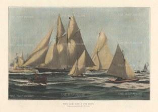 "Illustrated London News: Cowes Regatta. 1897. A hand coloured original antique wood engraving. 14"" x 9"". [SPORTSp3485]"