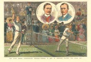 "Illustrated London News: Wimbledon. 1882. A hand coloured original antique wood engraving. 7"" x 5"". [SPORTSp3501]"