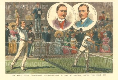 "Illustrated London News: Wimbledon. 1882. A hand coloured original antique wood engraving. 7"" x 5"". [SPORTSp3501]"