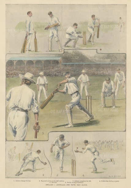 "ISDN: Ashes, Cricket. 1899. A hand coloured original antique photolithograph. 10"" x 14"". [SPORTSp3518]"