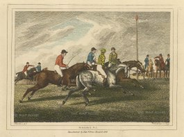 "Howitt: Horse Racing. 1812. A hand coloured original antique copper engraving. 8"" x 6"". [SPORTSp3544]"