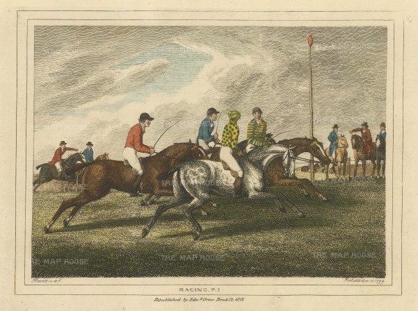 "Howitt: Horse Racing. 1812. A hand coloured original antique copper engraving. 8"" x 6"". [SPORTSp3544]"