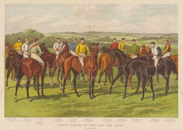 Epsom Derby: Portrait of a decade of winning horses and jockeys with keys to names and owners. After equestrian artist John Sturgess.