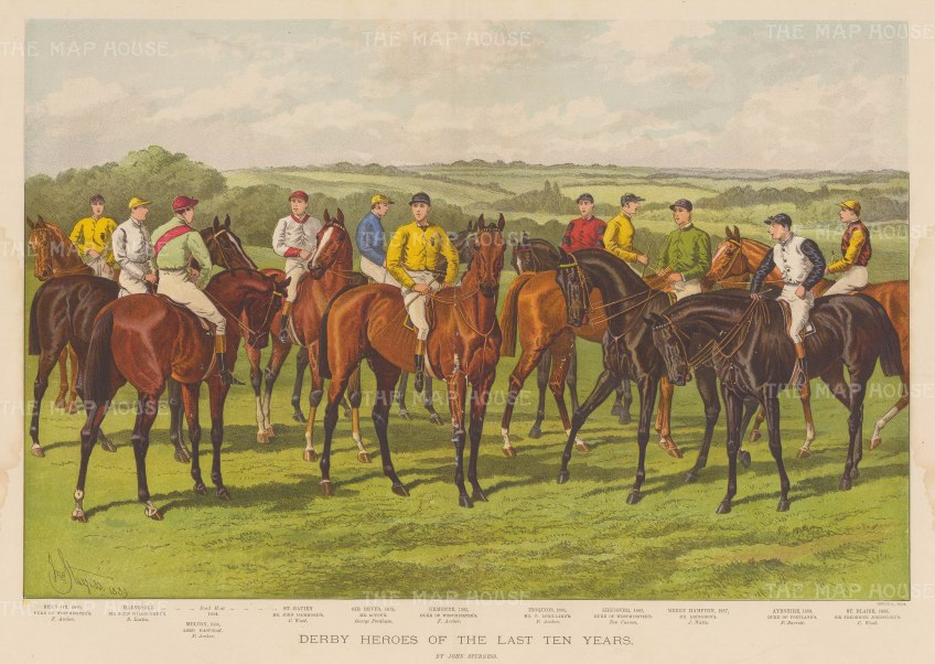 Illustrated London News Epsom Derby 1889 A Hand Coloured
