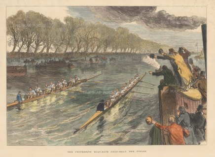 Oxford and Cambridge Boat Race: Dead Heat,The Finish. The last race to employ Watermen, as subsequent races would utilise finishing posts.