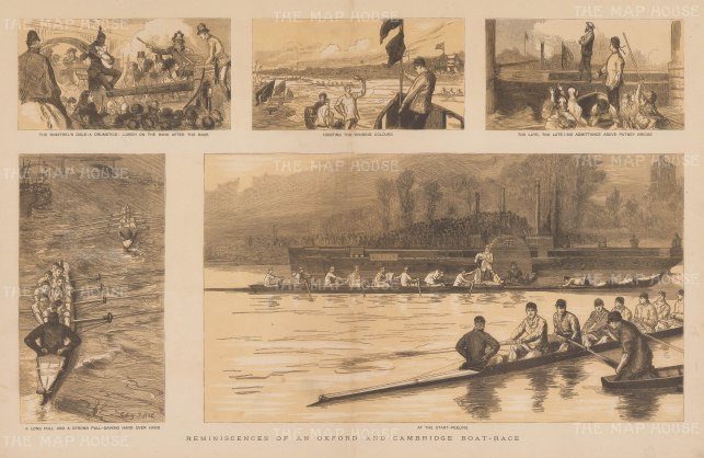 "Graphic Magazine: University Boat Race. 1884. An original tinted antique wood engraving. 20"" x 14"". [SPORTSp3611]"