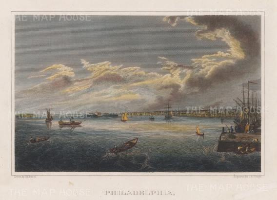 "Smith: Philadelphia, Pennsylvania. 1840. A hand coloured original antique steel engraving. 9"" x 7"". [USAp2561]"