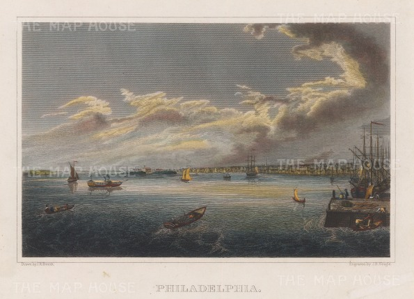 "Smith: Philadelphia, Pennsylvania. 1840. A hand coloured original antique steel engraving. 9"" x 7"". [USAp2561]"