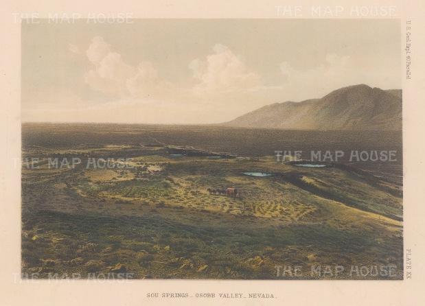 "U.S. Geological Survey: Sou Springs, Osobb Valley, Nevada. 1878. An original colour antique lithograph. 9"" x 7"". [USAp3039]"