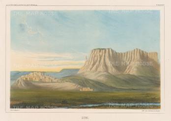 """U.S.P.R.R. Exp.: Zuni, New Mexico. 1857. A hand coloured original antique lithograph. 10"""" x 7"""". [USAp3510]"""