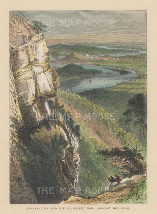 """Picturesque America: Chattanooga and the Tennessee. 1874. A hand coloured original antique wood engraving. 7"""" x 10"""". [USAp3689]"""
