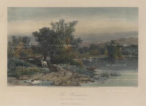 "Picturesque America: Housatonic. Connecticut. 1873. A hand coloured original antique steel engraving. 10"" x 7"". [USAp3977]"
