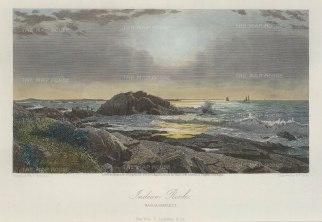 "Picturesque America: Narragansett:, Rhode Island. 1873. A hand coloured original antique steel engraving. 10"" x 7"". [USAp3978]"