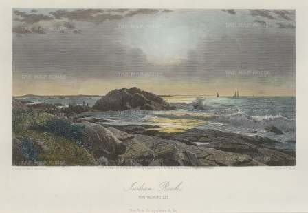 "Picturesque America: Narragansett:, Rhode Island. 1873. A hand coloured original antique steel engraving. 10"" x 7"". [USAp3978]"