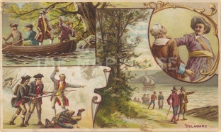 "Arbuckle Brothers: Delaware. 1892. An original antique chromolithograph. 6"" x 4"". [USAp4154]"