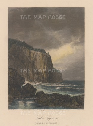 "Picturesque America: Lake Superior, Minnesota. 1873. A hand coloured original antique steel engraving. 7"" x 10"". [USAp4164]"