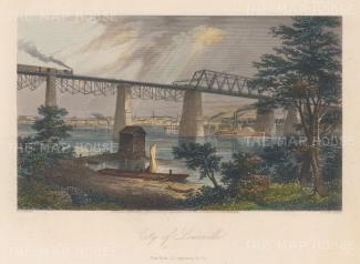 "Picturesque America: Louisville, Kentucky. 1874. A hand coloured original antique steel engraving. 10"" x 8"". [USAp4168]"