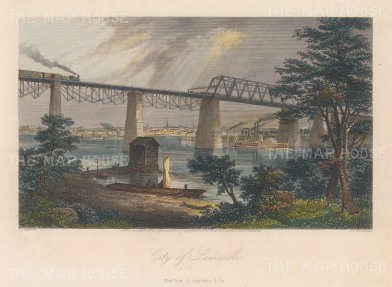 "Picturesque America: Louisville, Kentucky. 1874. A hand coloured original antique steel engraving. 10"" x 8"". [USAp4168]"