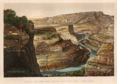 Yampa Canyon: View over the Green River towards the Uinta Range: