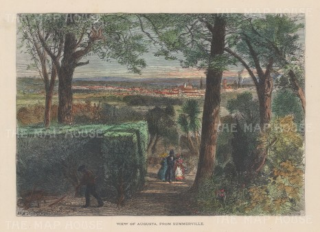 "Picturesque America: Augusta, Georgia. 1880. A hand coloured original antique wood engraving. 10"" x 7"". [USAp4436]"